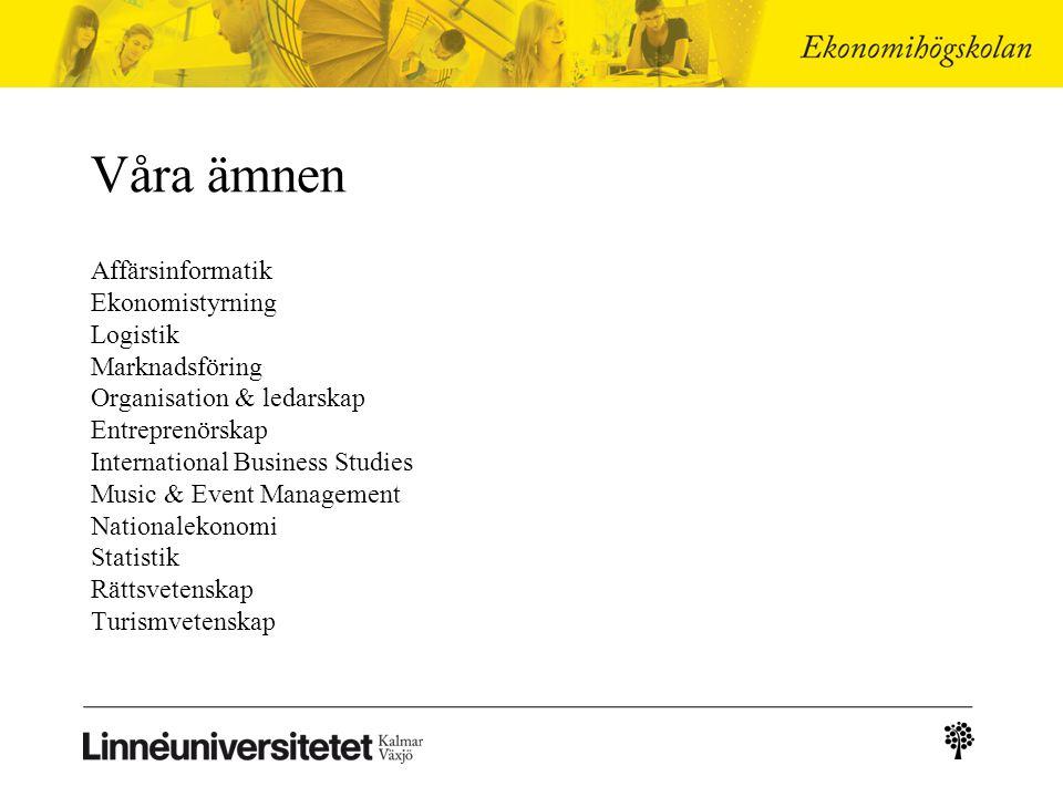 Två städer – ett universitet Linnéuniversitetet finns i Kalmar och i Växjö.