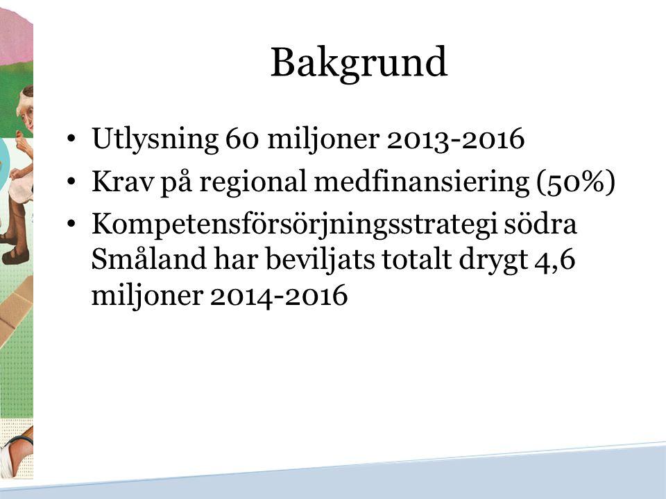 Bakgrund Utlysning 60 miljoner 2013-2016 Krav på regional medfinansiering (50%) Kompetensförsörjningsstrategi södra Småland har beviljats totalt drygt
