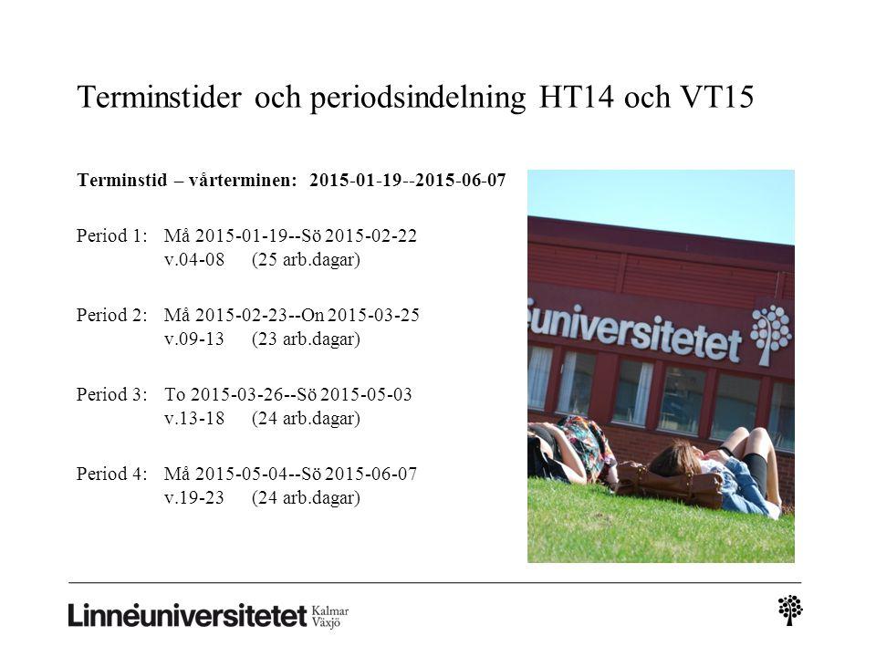Terminstider och periodsindelning HT14 och VT15 Terminstid – vårterminen: 2015-01-19--2015-06-07 Period 1:Må 2015-01-19--Sö 2015-02-22 v.04-08(25 arb.dagar) Period 2: Må 2015-02-23--On 2015-03-25 v.09-13(23 arb.dagar) Period 3:To 2015-03-26--Sö 2015-05-03 v.13-18(24 arb.dagar) Period 4:Må 2015-05-04--Sö 2015-06-07 v.19-23(24 arb.dagar)