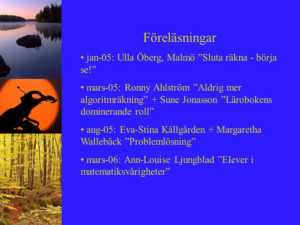 """Föreläsningar jan-05: Ulla Öberg, Malmö """"Sluta räkna - börja se!"""" mars-05: Ronny Ahlström """"Aldrig mer algoritmräkning"""" + Sune Jonasson """"Lärobokens dom"""