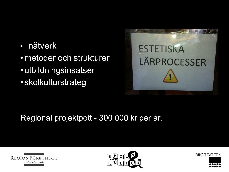 nätverk metoder och strukturer utbildningsinsatser skolkulturstrategi Regional projektpott - 300 000 kr per år.