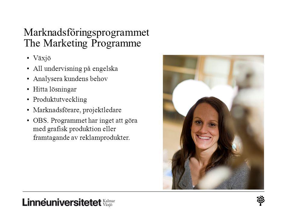 Marknadsföringsprogrammet The Marketing Programme Växjö All undervisning på engelska Analysera kundens behov Hitta lösningar Produktutveckling Marknad