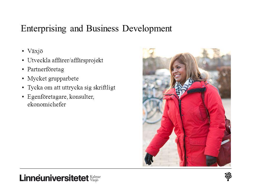 Enterprising and Business Development Växjö Utveckla affärer/affärsprojekt Partnerföretag Mycket grupparbete Tycka om att uttrycka sig skriftligt Egen