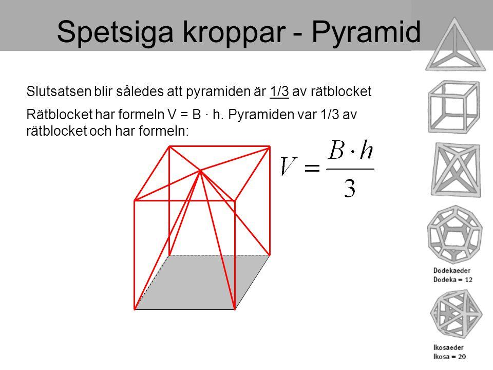 Spetsiga kroppar - Pyramid Slutsatsen blir således att pyramiden är 1/3 av rätblocket Rätblocket har formeln V = B · h. Pyramiden var 1/3 av rätblocke