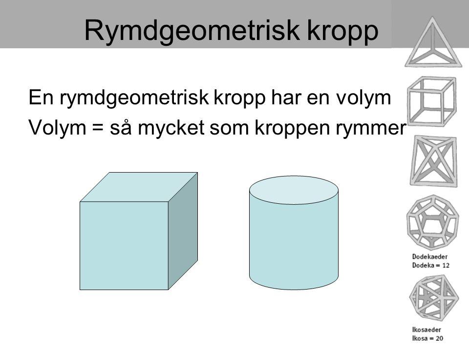 Rymdgeometrisk kropp En rymdgeometrisk kropp har en volym Volym = så mycket som kroppen rymmer