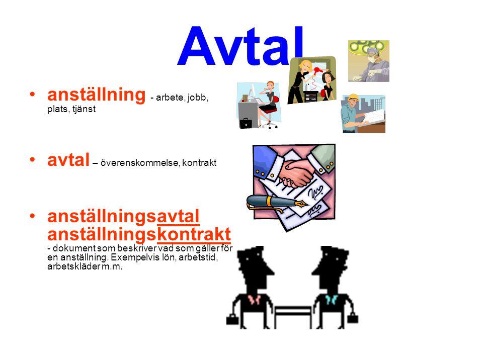 Avtal anställning - arbete, jobb, plats, tjänst avtal – överenskommelse, kontrakt anställningsavtal anställningskontrakt - dokument som beskriver vad