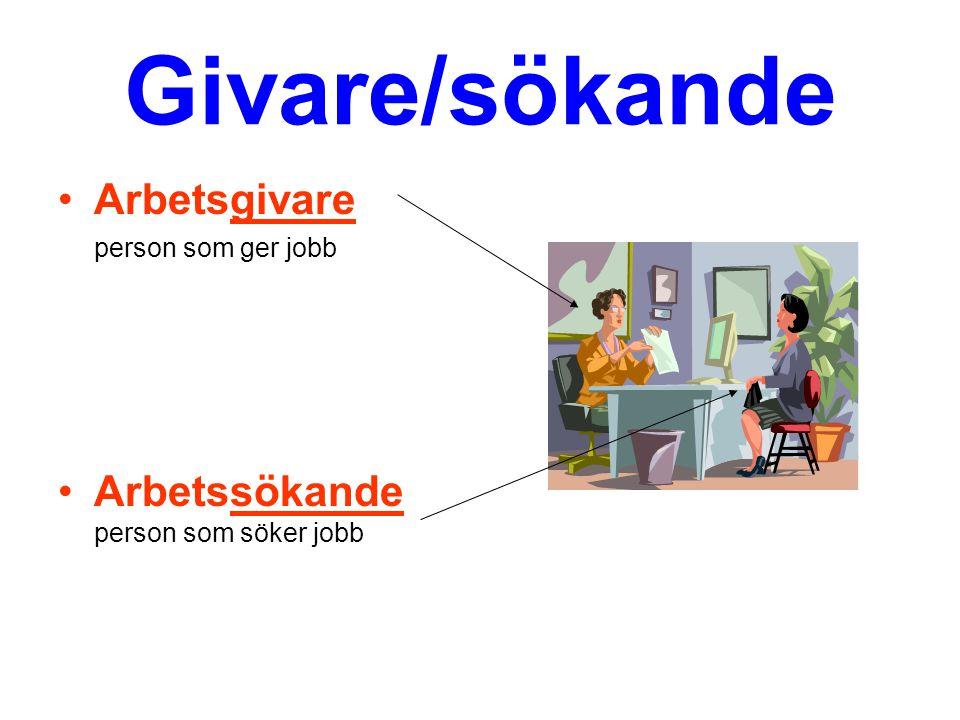 Givare/sökande Arbetsgivare person som ger jobb Arbetssökande person som söker jobb