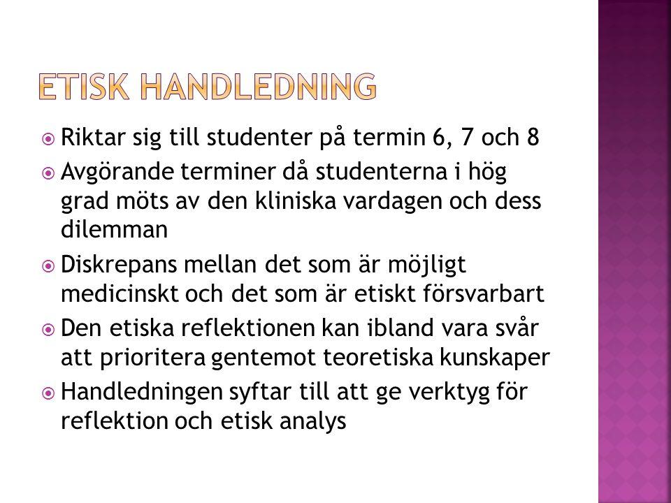  Enkät (sondera etiska frågor)  Temadag om etik/seminarium med ett litet antal studenter.
