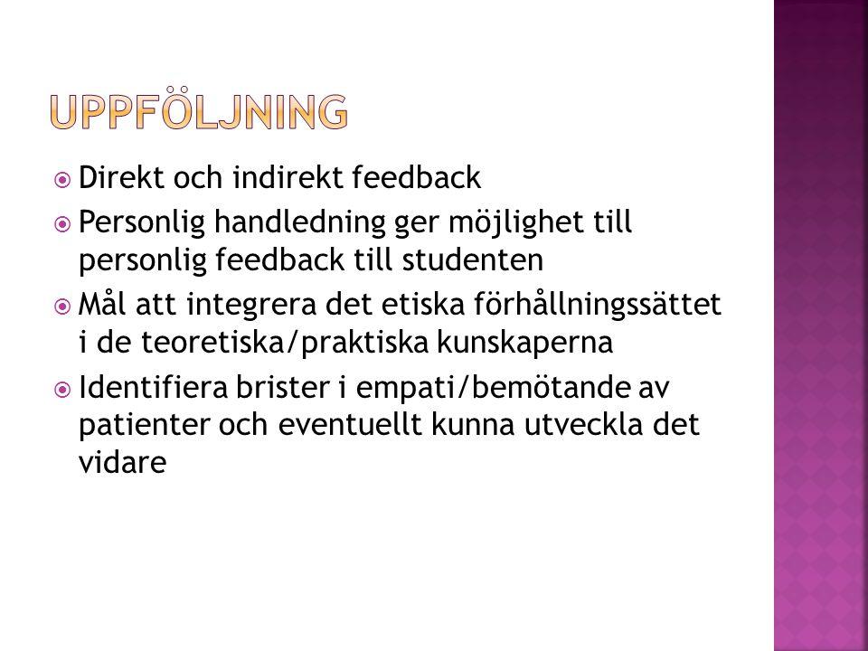  Direkt och indirekt feedback  Personlig handledning ger möjlighet till personlig feedback till studenten  Mål att integrera det etiska förhållning