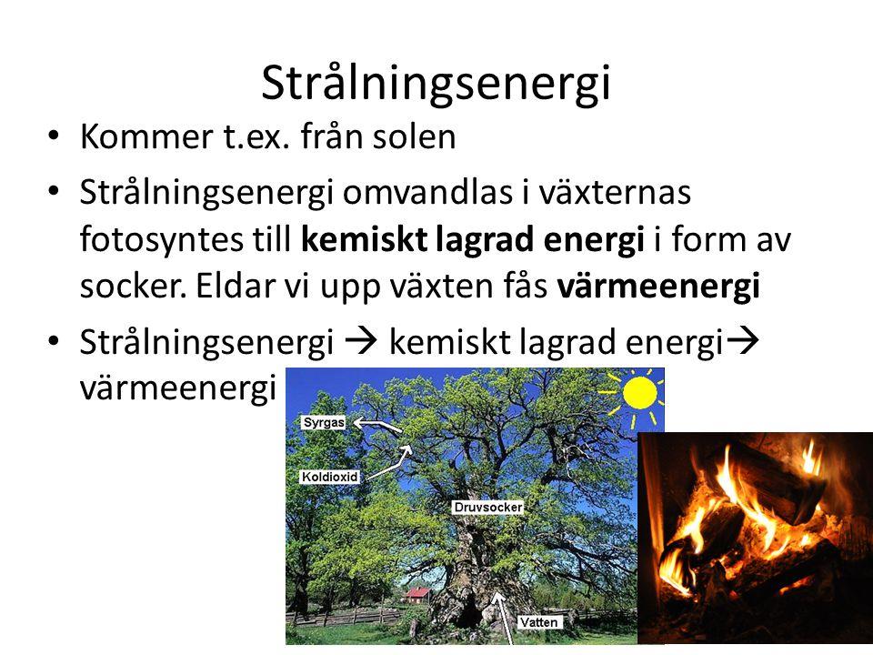 Strålningsenergi Kommer t.ex. från solen Strålningsenergi omvandlas i växternas fotosyntes till kemiskt lagrad energi i form av socker. Eldar vi upp v