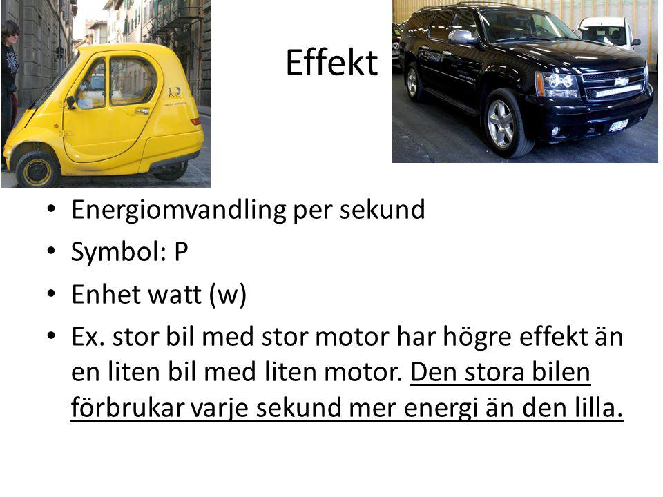 Effekt Energiomvandling per sekund Symbol: P Enhet watt (w) Ex. stor bil med stor motor har högre effekt än en liten bil med liten motor. Den stora bi