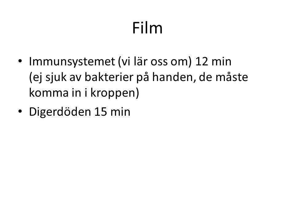 Film Immunsystemet (vi lär oss om) 12 min (ej sjuk av bakterier på handen, de måste komma in i kroppen) Digerdöden 15 min