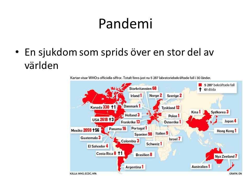 Pandemi En sjukdom som sprids över en stor del av världen