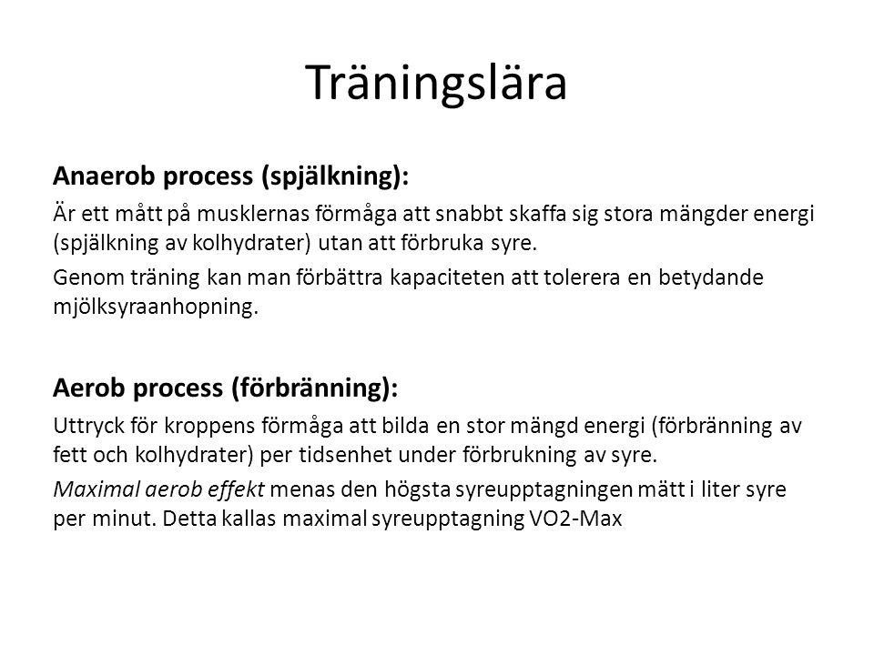 Träningslära Träningsplanering Träning – mål Olika metoder Dela in året i olika perioder 1.
