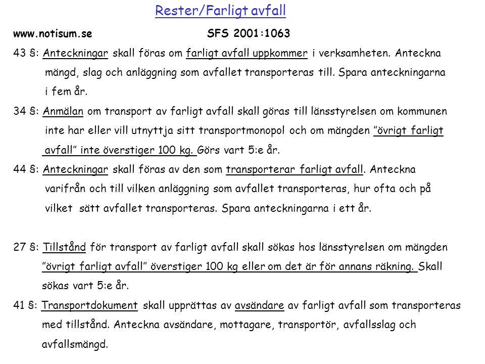 www.notisum.seSFS 2001:1063 43 §: Anteckningar skall föras om farligt avfall uppkommer i verksamheten. Anteckna mängd, slag och anläggning som avfalle