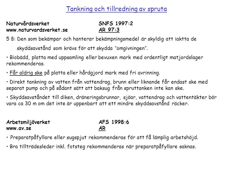 NaturvårdsverketSNFS 1997:2 www.naturvardsverket.seAR 97:3 5 §: Den som bekämpar och hanterar bekämpningsmedel är skyldig att iaktta de skyddsavstånd