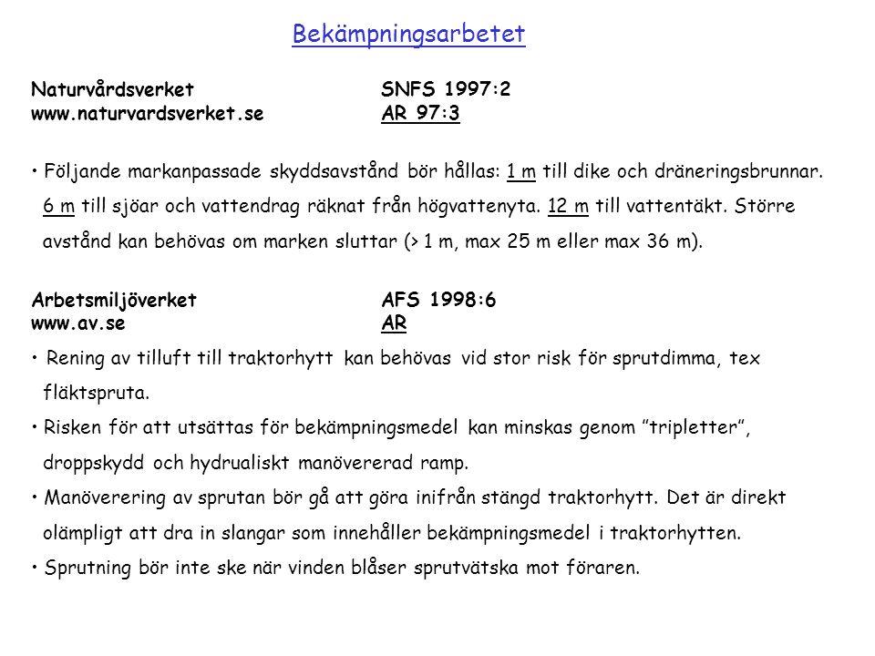 NaturvårdsverketSNFS 1997:2 www.naturvardsverket.seAR 97:3 Följande markanpassade skyddsavstånd bör hållas: 1 m till dike och dräneringsbrunnar. 6 m t