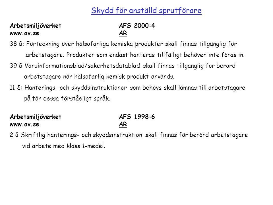 Arbetsmiljöverket AFS 2000:4 www.av.se AR 38 §: Förteckning över hälsofarliga kemiska produkter skall finnas tillgänglig för arbetstagare. Produkter s