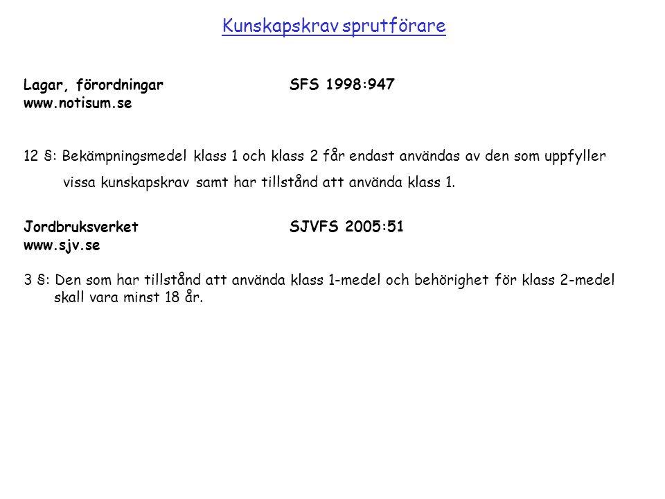 Lagar, förordningarSFS 1998:947 www.notisum.se 12 §: Bekämpningsmedel klass 1 och klass 2 får endast användas av den som uppfyller vissa kunskapskrav