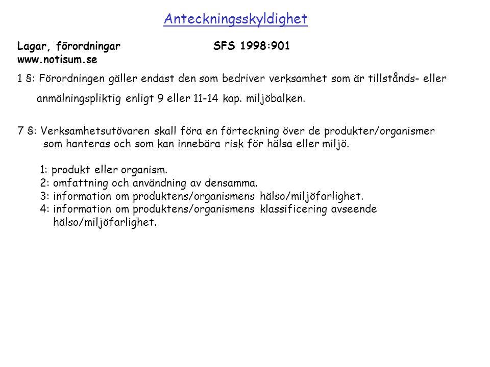 Lagar, förordningarSFS 1998:901 www.notisum.se 1 §: Förordningen gäller endast den som bedriver verksamhet som är tillstånds- eller anmälningspliktig