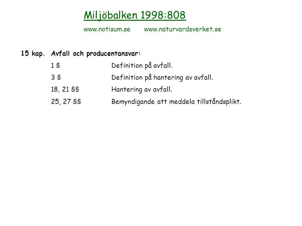 Lagar, förordningar, föreskrifter och allmänna råd Transport avFörvaring avTomemballageRester/ bekämpn.medelbekämpn.medelFarligt avfall Lagar,förordningar(SFS SFS SFS www.notisum.se 2006:1010) 2001:1063 2001:1063 KEMIKIFS 1998:8 www.kemi.se Naturvårds-AR 97:3NFS 2001:13 verketH-bok 2001:5 www.naturvardsverket.seNFS 1997:4 NFS 1999:8 Arbetsmiljö-AFS 1998:6AFS 1998:6(AFS 1998:6) Verket(AFS 2000:4) www.av.se Jordbruksverket www.sjv.se RäddningsverketSRVFS 2006:7 www.sr.se