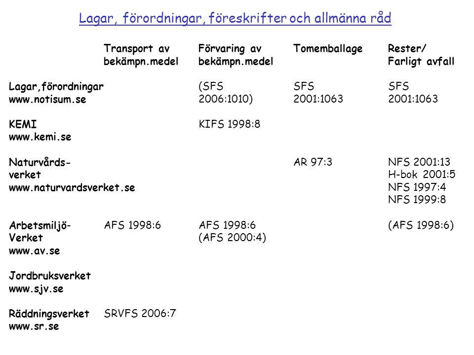 RäddningsverketSRVFS 2002:1 www.sr.se Ej transportklassade bekämpningsmedel(Flera medel finns, ex.