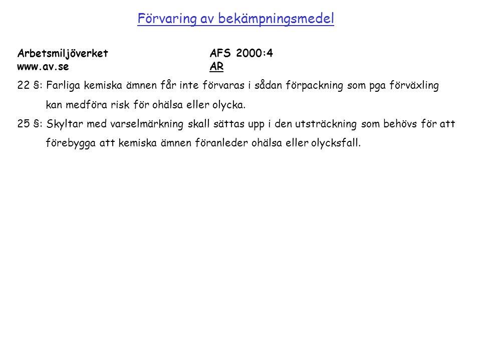 Arbetsmiljöverket AFS 2000:4 www.av.se AR 22 §: Farliga kemiska ämnen får inte förvaras i sådan förpackning som pga förväxling kan medföra risk för oh