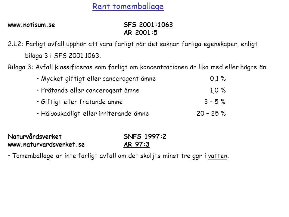 www.notisum.seSFS 2001:1063 AR 2001:5 2.1.2: Farligt avfall upphör att vara farligt när det saknar farliga egenskaper, enligt bilaga 3 i SFS 2001:1063