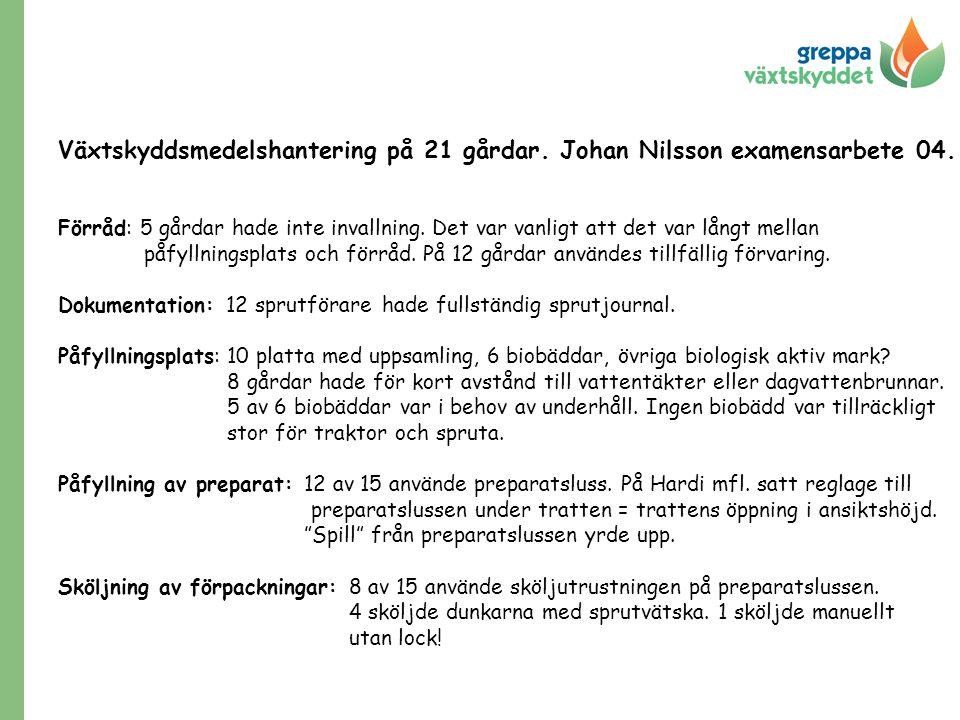 Växtskyddsmedelshantering på 21 gårdar. Johan Nilsson examensarbete 04. Förråd: 5 gårdar hade inte invallning. Det var vanligt att det var långt mella