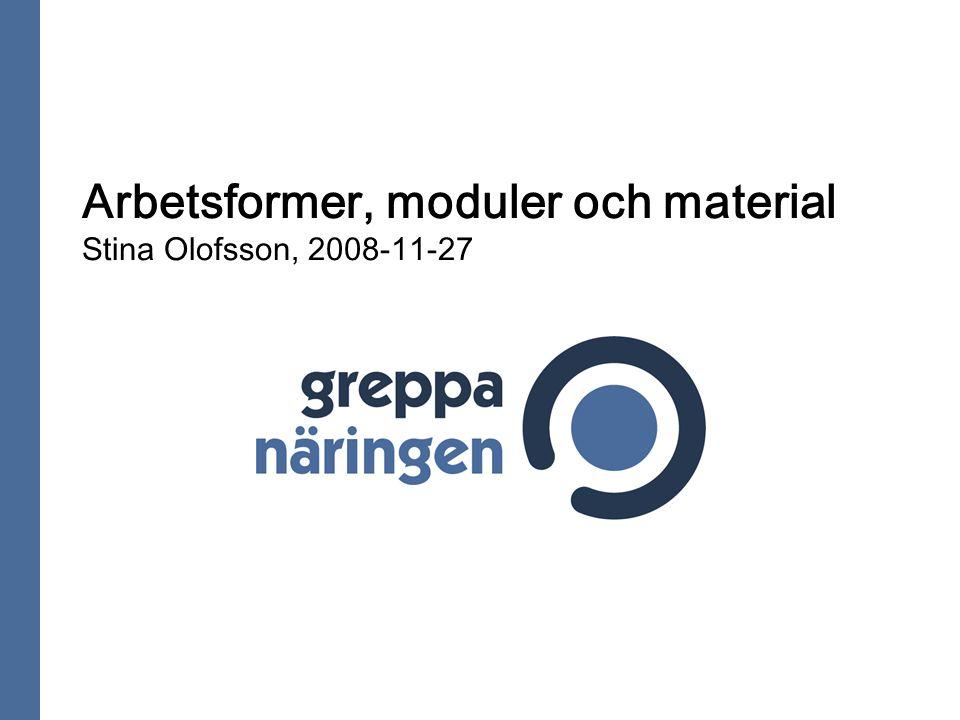 Arbetsformer, moduler och material Stina Olofsson, 2008-11-27