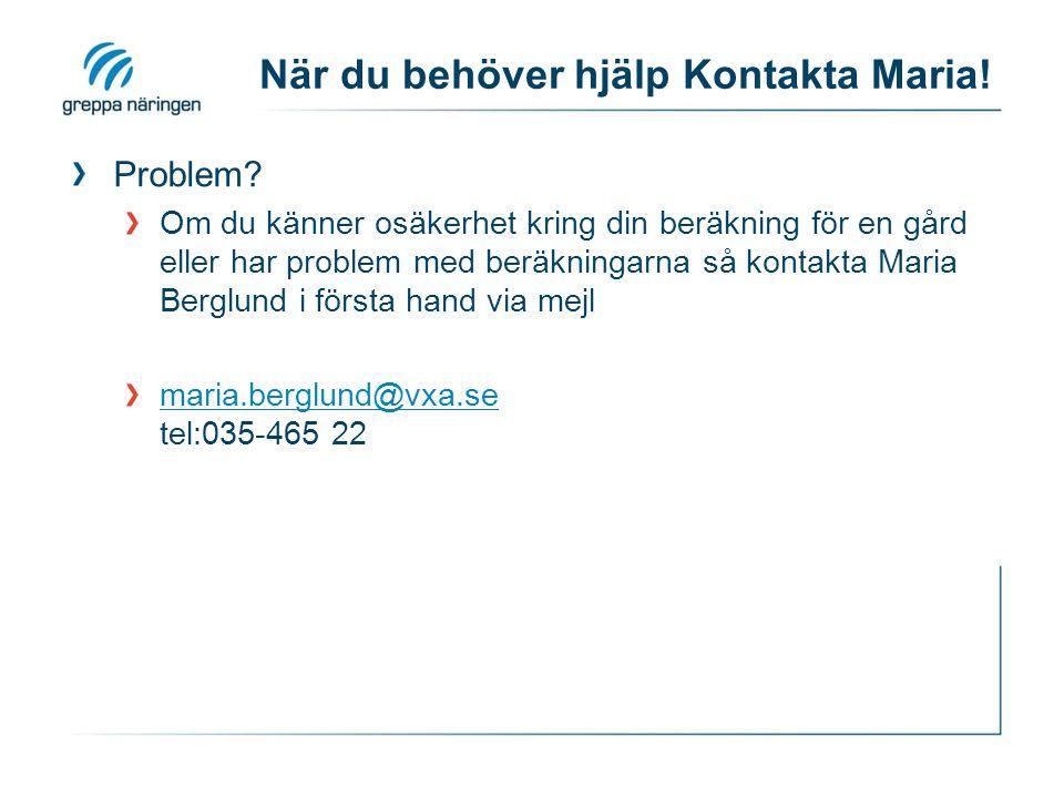 När du behöver hjälp Kontakta Maria. Problem.