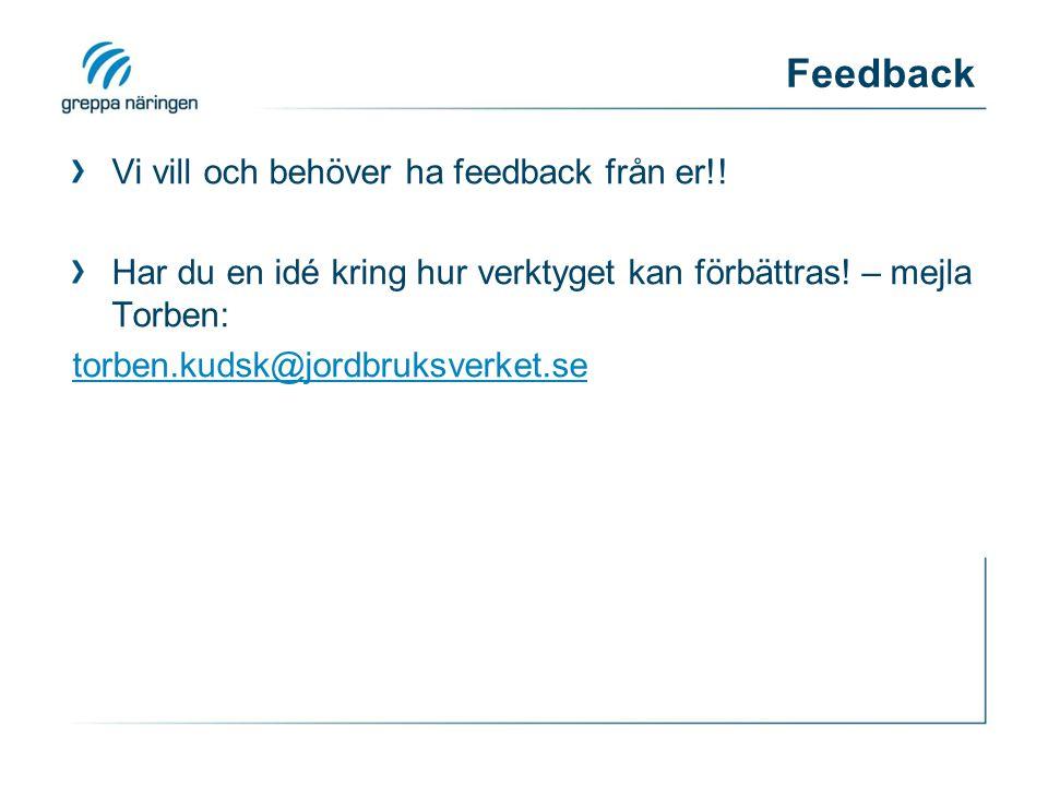 Feedback Vi vill och behöver ha feedback från er!.
