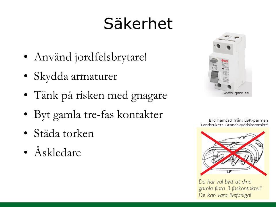 Säkerhet Använd jordfelsbrytare! Skydda armaturer Tänk på risken med gnagare Byt gamla tre-fas kontakter Städa torken Åskledare Bild hämtad från: LBK-