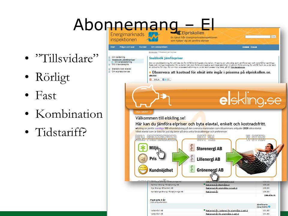 """Abonnemang – El """"Tillsvidare"""" Rörligt Fast Kombination Tidstariff?"""