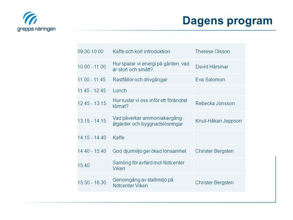 Dagens program 09:30-10:00Kaffe och kort introduktion Therese Olsson 10.00 - 11.00 Hur sparar vi energi på gården, vad är stort och smått.