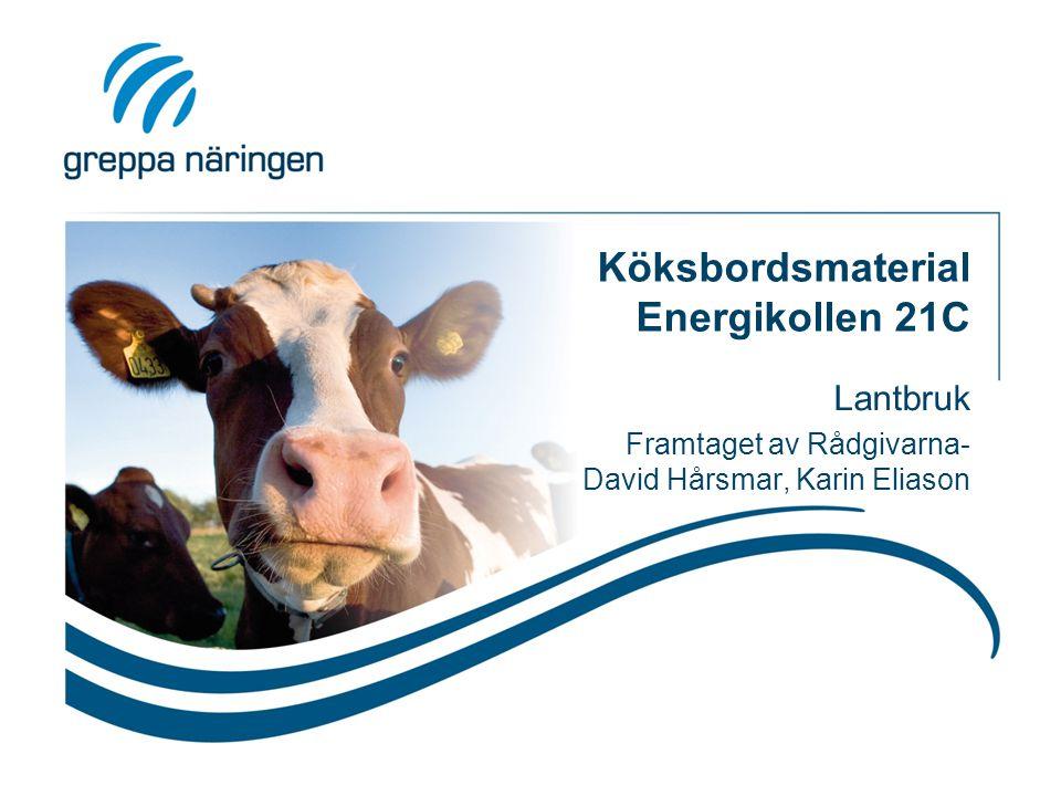 Köksbordsmaterial Energikollen 21C Lantbruk Framtaget av Rådgivarna- David Hårsmar, Karin Eliason