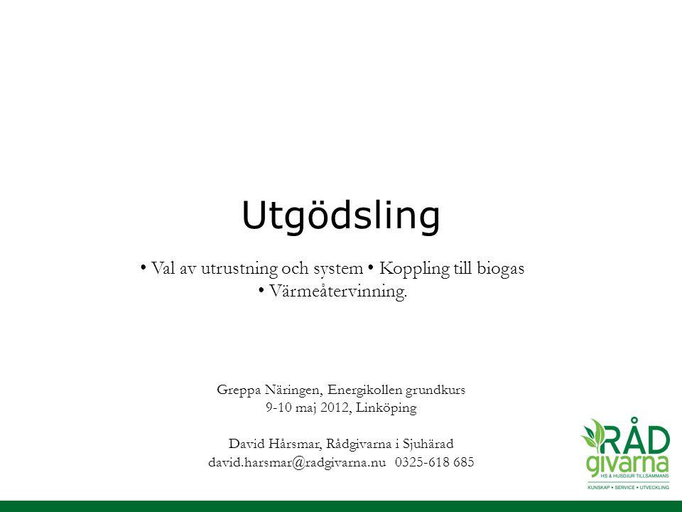 Utgödsling Greppa Näringen, Energikollen grundkurs 9-10 maj 2012, Linköping David Hårsmar, Rådgivarna i Sjuhärad david.harsmar@radgivarna.nu 0325-618