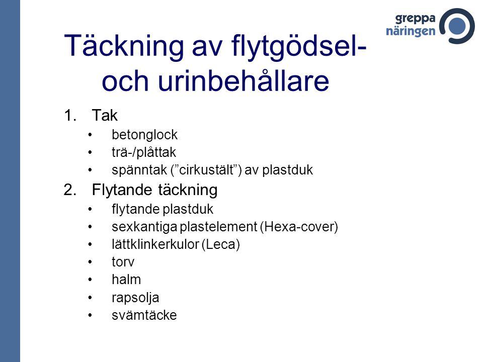 """Täckning av flytgödsel- och urinbehållare 1.Tak betonglock trä-/plåttak spänntak (""""cirkustält"""") av plastduk 2.Flytande täckning flytande plastduk sexk"""