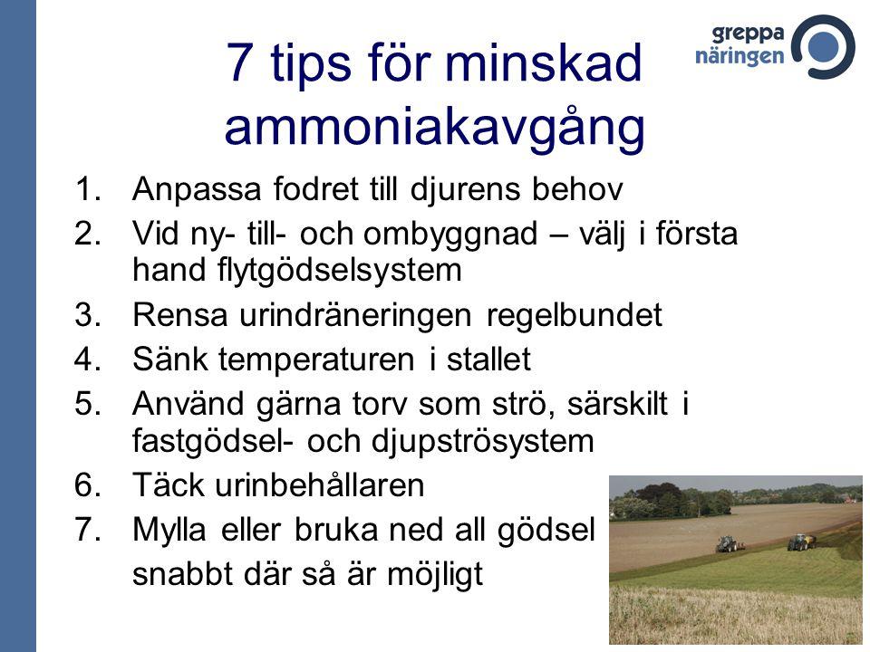 7 tips för minskad ammoniakavgång 1.Anpassa fodret till djurens behov 2.Vid ny- till- och ombyggnad – välj i första hand flytgödselsystem 3.Rensa urin