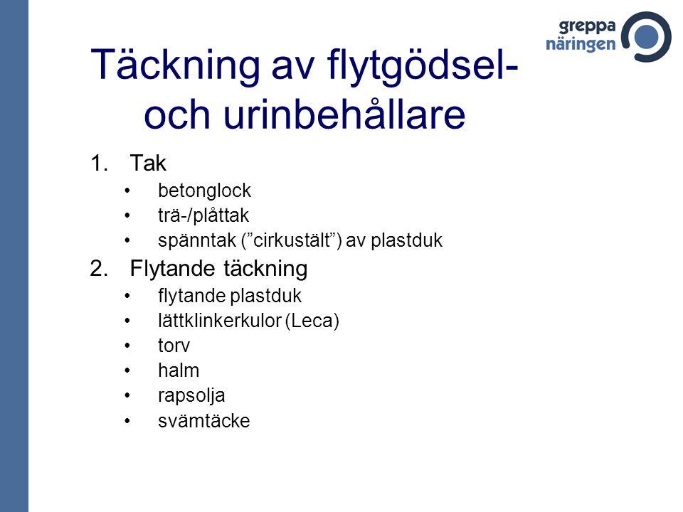"""Täckning av flytgödsel- och urinbehållare 1.Tak betonglock trä-/plåttak spänntak (""""cirkustält"""") av plastduk 2.Flytande täckning flytande plastduk lätt"""