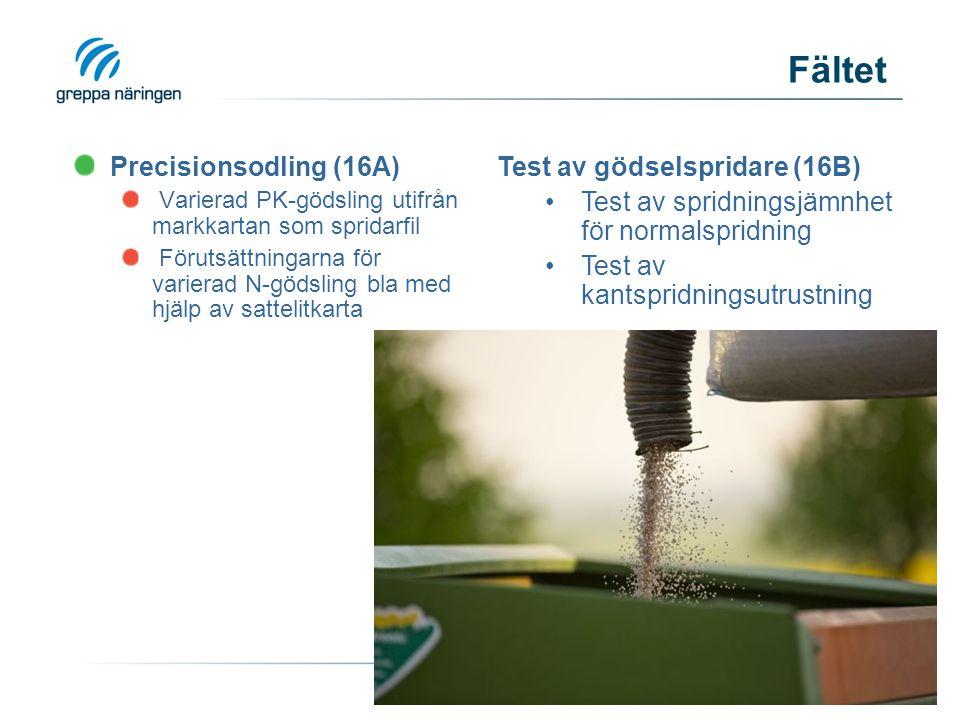 Precisionsodling (16A) Varierad PK-gödsling utifrån markkartan som spridarfil Förutsättningarna för varierad N-gödsling bla med hjälp av sattelitkarta Test av gödselspridare (16B) Test av spridningsjämnhet för normalspridning Test av kantspridningsutrustning Fältet