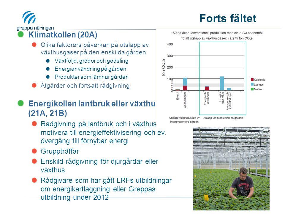 Forts fältet Klimatkollen (20A) Olika faktorers påverkan på utsläpp av växthusgaser på den enskilda gården Växtföljd, grödor och gödsling Energianvändning på gården Produkter som lämnar gården Åtgärder och fortsatt rådgivning Energikollen lantbruk eller växthus (21A, 21B) Rådgivning på lantbruk och i växthus för att motivera till energieffektivisering och ev.