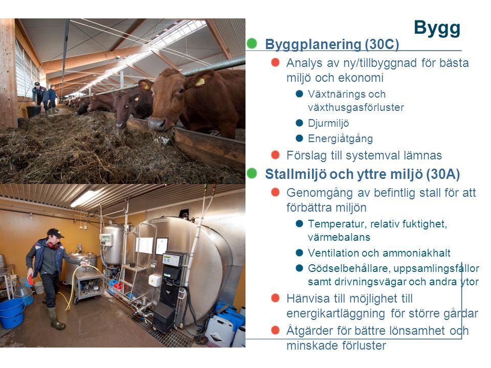Byggplanering (30C) Analys av ny/tillbyggnad för bästa miljö och ekonomi Växtnärings och växthusgasförluster Djurmiljö Energiåtgång Förslag till systemval lämnas Stallmiljö och yttre miljö (30A) Genomgång av befintlig stall för att förbättra miljön Temperatur, relativ fuktighet, värmebalans Ventilation och ammoniakhalt Gödselbehållare, uppsamlingsfållor samt drivningsvägar och andra ytor Hänvisa till möjlighet till energikartläggning för större gårdar Åtgärder för bättre lönsamhet och minskade förluster Bygg