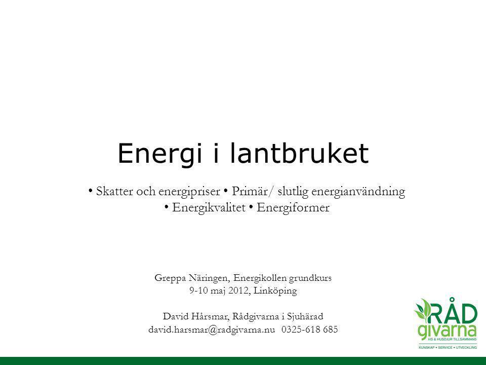 Energi i lantbruket Greppa Näringen, Energikollen grundkurs 9-10 maj 2012, Linköping David Hårsmar, Rådgivarna i Sjuhärad david.harsmar@radgivarna.nu