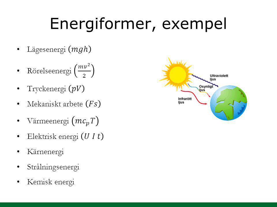Energiformer, exempel