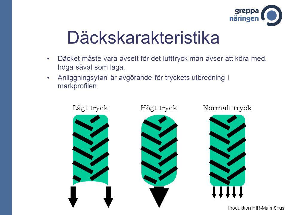 Däckskarakteristika Däcket måste vara avsett för det lufttryck man avser att köra med, höga såväl som låga. Anliggningsytan är avgörande för tryckets