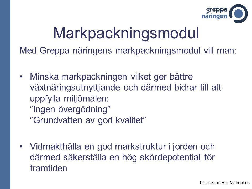Markpackningsmodul Med Greppa näringens markpackningsmodul vill man: Minska markpackningen vilket ger bättre växtnäringsutnyttjande och därmed bidrar