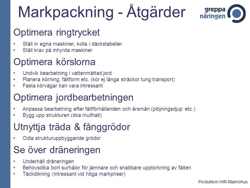 Markpackning - Åtgärder Optimera ringtrycket Ställ in egna maskiner, kolla i däckstabeller Ställ krav på inhyrda maskiner Optimera körslorna Undvik be