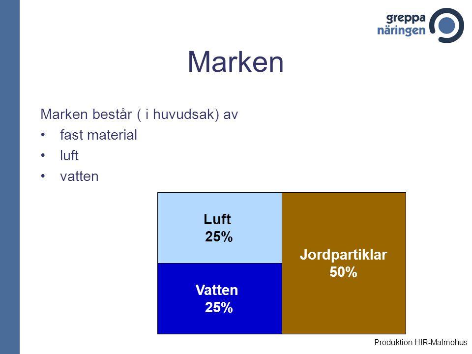 Marken Marken består ( i huvudsak) av fast material luft vatten Luft 25% Jordpartiklar 50% Vatten 25% Produktion HIR-Malmöhus