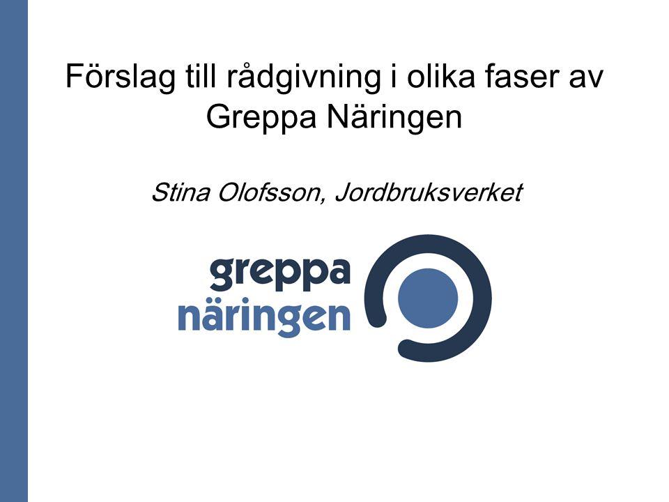 Förslag till rådgivning i olika faser av Greppa Näringen Stina Olofsson, Jordbruksverket